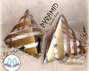 GOLD-COLORED PYRAMID diy striped pyramid favor box-set 25 pieces