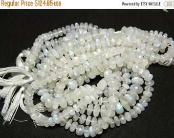 ON SALE 50% Rainbow Moonstone Beads, 8mm Faceted Beads, Microfaceted Beads, Rondelle Beads,15 Inch Strand, 80 Pieces Approx