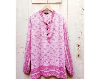 Pink Elephant Pattern Summer Festival Nehru Shirt Diamond Border