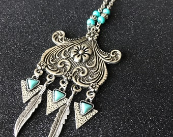 Pendant ethnic and turquoise and feathers - Bohemia - indie