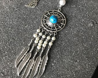 Dreamcatcher with beads feathers and white collar silver boho Bohemian