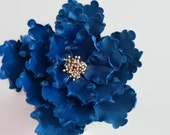 Navy and Gold peony sugar flower for wedding cake toppers, bridal showers, custom cake decoration, gumpaste toppers, diy brides