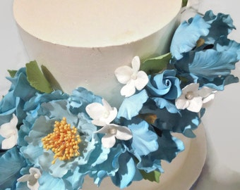 Sugar Flower Cake Topper Arrangement, blue gumpaste flowers, peony, tulip, roses, hydrangeas, wedding cake topper, diy bride