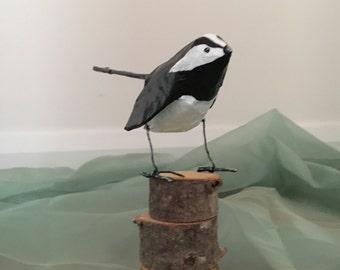Paper mache animal / bird Wagtail sculpture