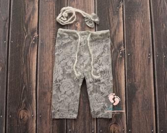 Grey Lace Newborn Pants, Photography Prop, Newborn Pants, Newborn Photo Prop,Photo Prop, Newborn, Lace Pants,Newborn Lace Pants,Newborn Prop