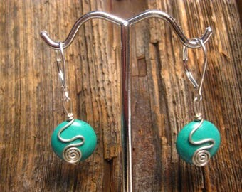 Turquoise Earrings on Sterling Silver Leverbacks
