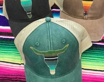 Serape Cow Skull hat - Sweet Texas Treasures - longhorn serape cap trucker hat mexican blanket summer cap