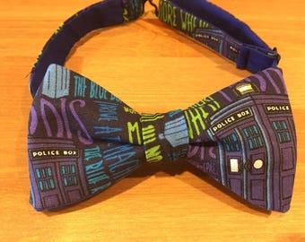 Doctor Who Bow Tie, Tardis, Self Tie or Pre Tied bowtie, Police Box, Bigger On The Inside, Companion, Wedding, Groomsmen, Dapper On Arrival
