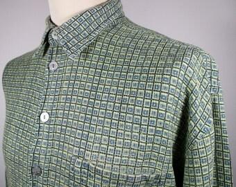 "80s Green & Blue Geometric Print Disco Shirt XXL 50"" Chest (48-50) 100% Cotton / Flannel w/ Short Sleeves ---Quality Vintage Menswear---"