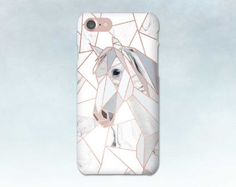 Rose Gold Geometric Horse Phone Case, Marble, iPhone 6 6s 5 7 Plus, Samsung Galaxy S7 S6 S5, Edge, Note, LG G5 Moto G, Gift for Horse Lover