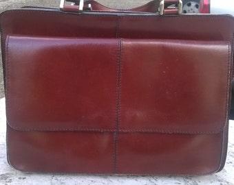 Vintage leather satchel handbag