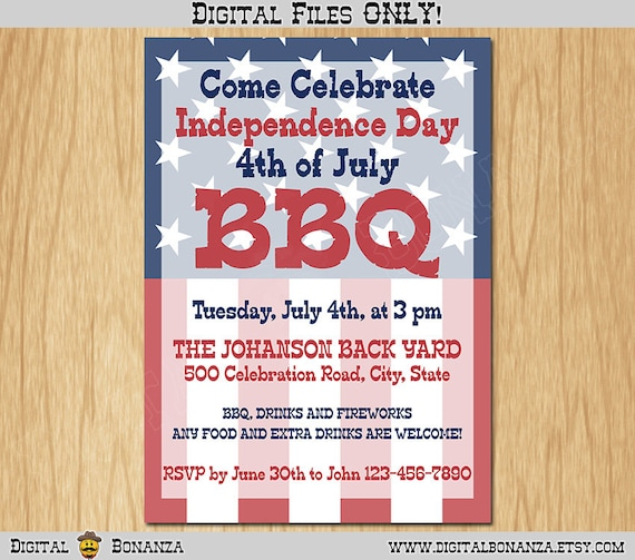 4th Of July Independence Day Printable Invitation Red White And