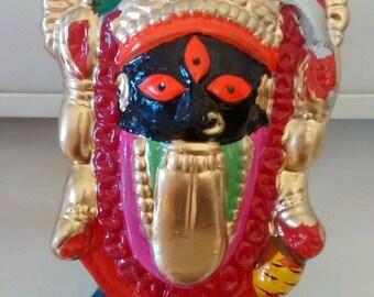 hindu goddess kali, kalighat clay statue