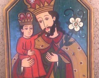 Beautiful St. Joseph Painting on Wood - hand painted