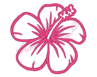 Machine Embroidery Design hibiscus flower (4 sizes) - Instant Digital Download