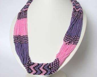Gerdan   Bead Rope Necklace   Lilac necklace  Pink and purple necklace   Beadwork  Gift for girls, women. Wedding