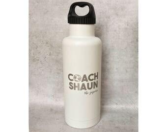 Coach Gift Water Bottle - 32 oz bottle insulated stainless steel water bottle insulated water bottle - soccer baseball basketball