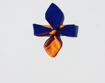 Blue and Orange Knotted Headband, Gator Baby Headband, UF Kids and Teens Headband, Gator Adult Headband, Reversible Orange and Blue Headband