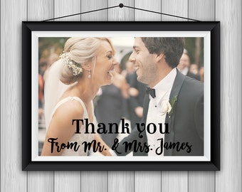 Personalized wedding thank you card, printed picture card, wedding picture thank you