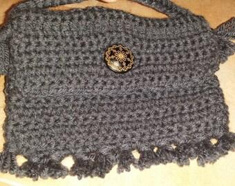 Fringed Gray Crochet Wristlet, Purse, Bag.  Big Wooden Button. Handmade.