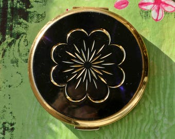 Vintage Stratton Dark Blue Rondette Powder Compact Gold Diamond Cut Flower Design 1970s