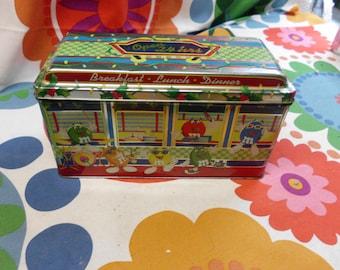 "Vintage 1996 M & M Chocolate Candies Metal Tin Box Diner 8.5"" x 4.5"" x 3.5"" Good Condition"