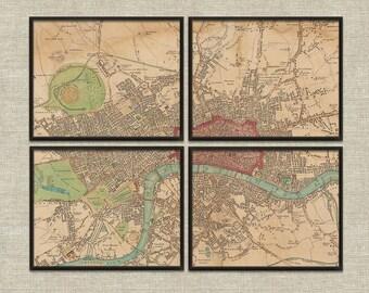 Map London England vintage printable wall art décor set of 4