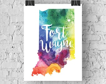 Custom Indiana Map Art, Indiana Watercolor Heart Map Home Decor, Fort Wayne or Your City Hand Lettering, Personalized Giclee Print, 5 Colors