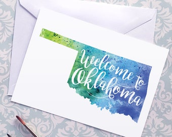Oklahoma Watercolor Map Greeting Card, Welcome to Oklahoma Hand Lettered Text, Gift or Postcard, Giclée Print, Map Art, Choose from 5 Colors