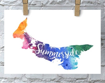 Custom Prince Edward Island Art, PEI Watercolour Heart Map Home Decor, Charlottetown or Your City Lettering, Personalized Print, 5 Colours