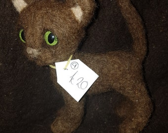 Needle Felted Brown Kitten ooak