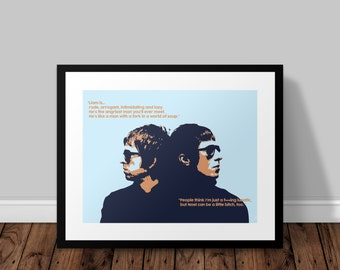 Brothers Print of Liam and Noel Gallagher of Oasis Illustrated Poster Print | A6 A5 A4 A3