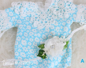 Blue Rompers, Crochet Lace,Newborn Props,Photography Props,Long Sleeves Romper,Photo Props, White Lace, Vintage Style,Girl Onesies, Overalls