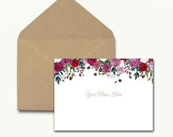 Personalized Floral Note Cards - Box of 10 With Envelopes