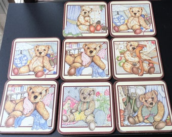 Pimpernel Coasters Teddy Bear Garden Tools Christmas Sewing Room Sleeping Sitting   Acrylic Set Of 8 Square