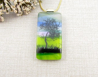 Fused Glass Tree Necklace - Scenic Glass Tree Pendant - Fused Glass Nature Pendant - Tree Jewelry