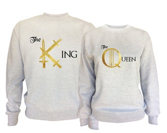 Game of Thrones inspired His and Her King and Queen matching sport grey sweatshirts set
