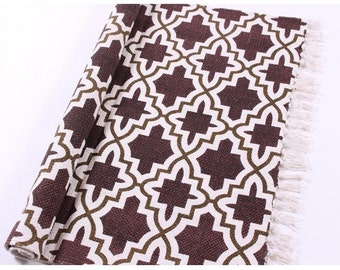 Cotton rug Geometry brown