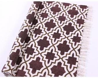 Cotton rug Geometry brown