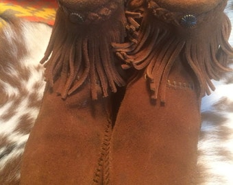 Vintage Minnetonka women's sz 6 1/2 leather ankle booties, leather moccasins