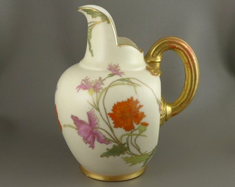 Royal Worcester Pitcher, Antique Royal Worcester Hand Painted Porcelain Flat Back Jug, c. 1890