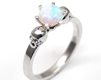 Skull Ring Silver 1ct Round Brilliant Unicorn Tear Opal Hand Crafted Engagement Ring 6 Claw