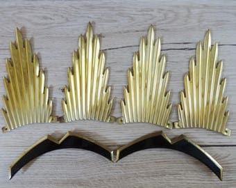 Art Deco Sunburst metal brass decoration pieces