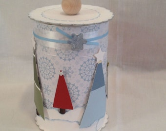 CHRISTMAS CANISTERS - candy holder- holiday decor - handmade crafts