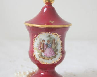 Vintage Limoges Porcelain Miniature Vase with Lid, Fragonard Decor, France