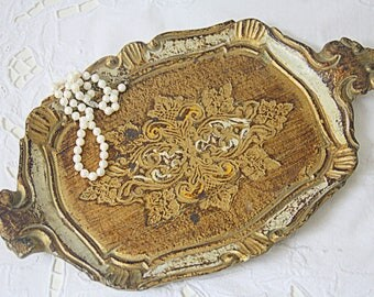 Small Vintage Italian Florentine Wooden Serving Tray, Gold and Cream