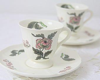 Vintage Wedgwood 'Mandarin' Porcelain Demitasse Cup and Saucer, England