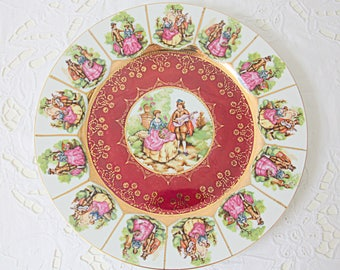 Vintage Large Porcelain Plate 'Love Story' Decor by Fragonard, Maroon Color, Made in Germany