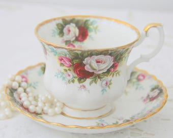 Vintage Royal Albert Bone China 'Celebration' Gentleman Size Cup And Saucer, England