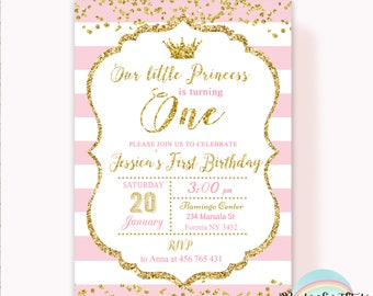 Princess Invitation, Princess First Birthday Invitation, Pink and Gold Birthday Invitation Printable, Little Princess Invitation